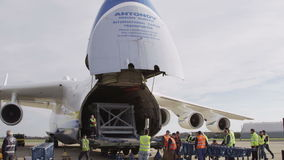 HD Antonov 225 Mriya airplane with opened cargo stock video