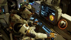 The astronaut on his space ship running on a computer