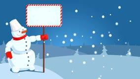 HD beeldverhaal van sneeuwman met dalende sneeuwvlokken stock footage