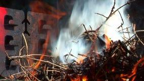 Hd - Beleuchten eines Feuers stock video footage