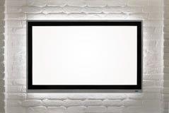 HD in bianco TV alla parete immagine stock