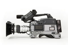 HD Camcorder. A professional high definition, tapeless broadcast camcorder. Shown with matte box and battery, isolated on white Royalty Free Stock Images