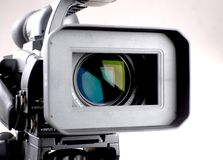 Hd-camcorder. Close-up lens of high definition camera recorder Royalty Free Stock Photos