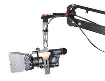 Hd camcorder on the crane. Isolated hd camcorder on the handly operator crane Stock Photography