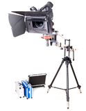 Hd camcorder on crane. Isolated high definition camcorder on handly studio crane Royalty Free Stock Photography