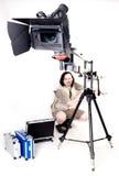 Hd camcorder on crane. Operator work with hd camcorder on handly studio crane Stock Image
