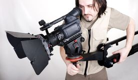 Hd camcorder on crane. Operator work with hd camcorder on handly studio crane Stock Photography