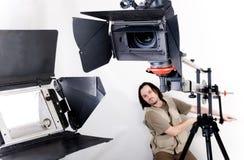 Hd camcorder on crane Royalty Free Stock Photos