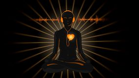 HD cartoon of yoga listening his heart stock video footage