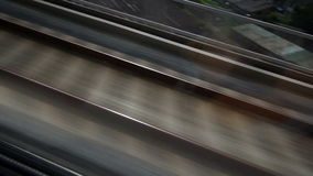 HD - Close view of railroad track moving at high speed stock video footage