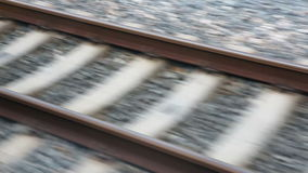 HD - Close view of railroad track moving at high speed stock footage
