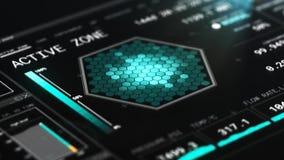 HD completo animou a opinião de perspectiva gráfica de HUD da interface de usuário do painel futurista do reator nuclear video estoque