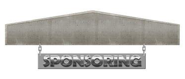 HD concreet en Zilveren Sponsorend Teken met Open Tekstvakje Gebied T Royalty-vrije Stock Foto