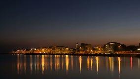 HD czasu podołków wideo miasto na banku ocean zatoka zdjęcie wideo