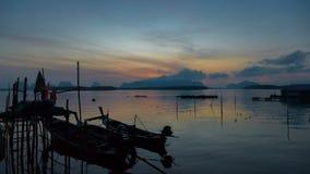 HD czasu upływ lokalny rybaka port w Tajlandia zdjęcie wideo