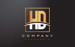 HD de Gouden Brief Logo Design van H D met Gouden Vierkant en Swoosh Stock Foto