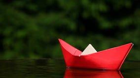 Hd de papel rojo de la cantidad del jardín del otoño del barco metrajes