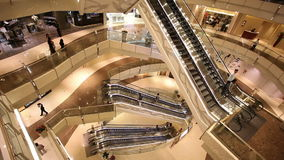 HD: escalators in shop. City life background. stock footage