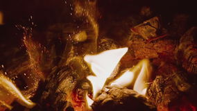 HD fire on black background stock footage