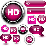 HD fuchsia signs. HD  illustration of glossy icons Royalty Free Stock Photo