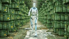 Futuristic humanoid robot walking on a military warehouse. HD Futuristic humanoid robot walking on a military warehouse vector illustration