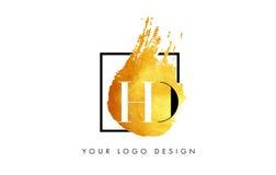 HD gouden Brief Logo Painted Brush Texture Strokes Stock Afbeeldingen