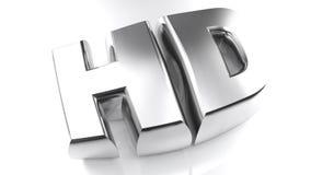 HD - Hög definition i chromed bokstäver stock illustrationer