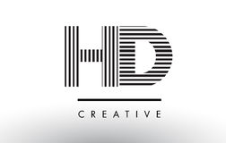 HD H D Black and White Lines Letter Logo Design. HD H D Black and White Letter Logo Design with Vertical and Horizontal Lines vector illustration