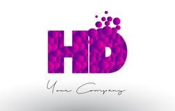 HD H D Dots Letter Logo avec la texture pourpre de bulles Images libres de droits