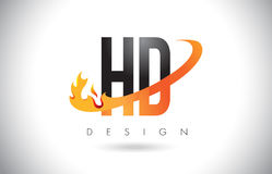 HD H D Letter Logo with Fire Flames Design and Orange Swoosh. Stock Photos
