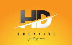 HD H D Letter Modern Logo Design with Yellow Background and Swoo. HD H D Letter Modern Logo Design with Swoosh Cutting the Middle Letters and Yellow Background Stock Images