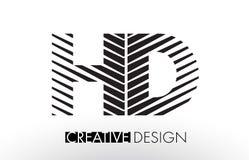 HD H D Lines Letter Design with Creative Elegant Zebra. Vector Illustration royalty free illustration
