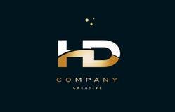 Hd h d white yellow gold golden luxury alphabet letter logo ico. Hd h d white yellow gold golden metal metallic luxury alphabet company letter logo design vector vector illustration