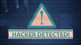 Hacker element and pixel noise Glitch with the inscription Hacker detected. HD Hacker element and pixel noise Glitch with the inscription Hacker detected vector illustration