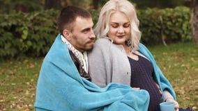 HD het paar zit in een parkechtgenoot omvat zijn zwangere vrouw met een deken stock footage