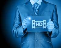 Hd icon on futuristic glass tablet Royalty Free Stock Photo