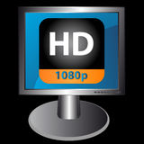 Hd icon in monitor Royalty Free Stock Photo