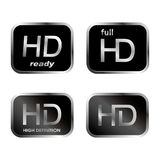 HD icons - buttons. Isolated on white background Royalty Free Stock Photography