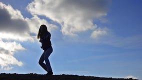 HD: Karate girl silhouette - Stock Video. stock video