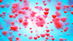 HD Loopable Background with nice abstract flying hearts stock footage
