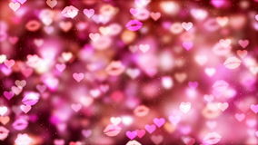 HD Loopable Background with nice flying hearts and kisses. HD Loopable Abstract Background with nice flying hearts and kisses for club visuals, LED installations stock video