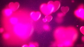 HD Loopable Background with nice purple flying hearts. HD Loopable Abstract Background with nice purple flying hearts for club visuals, LED installations stock footage