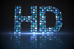 HD made of digital screens in blue Stock Photo