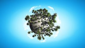 Motion graphic of rotation globe of palm trees stock video footage
