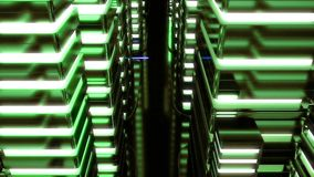 Night scene of neon city of the future. Loopable. Green. HD Night scene of neon city of the future. Loopable. Green stock footage