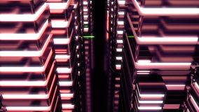 Night scene of neon city of the future. Loopable. Red. HD Night scene of neon city of the future. Loopable. Red stock video