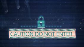 The noise of the TV and Glitch with the inscription Caution Do not enter. HD The noise of the TV and Glitch with the inscription Caution Do not enter stock video
