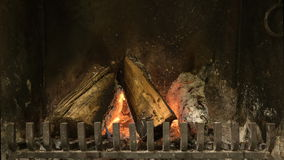 HD 1080p time lapse of wood that burns in fireplace stock video footage