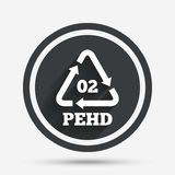 Hd-pe 02 sign icon. High-density polyethylene. Hd-pe 02 icon. High-density polyethylene sign. Recycling symbol. Circle flat button with shadow and border Royalty Free Stock Image