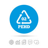 Hd-pe 02 sign icon. High-density polyethylene. Hd-pe 02 icon. High-density polyethylene sign. Recycling symbol. Copy files, chat speech bubble and chart web Royalty Free Stock Photos